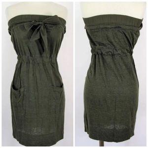 Banana Republic Pine Green Linen Strapless Dress